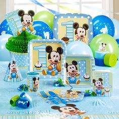 mickey mouse birthday party Ideas for Mickey Mouse Birthday Party Supplies Boys 1st Birthday Party Ideas, 1st Birthday Party Supplies, Baby Boy 1st Birthday, Blue Birthday, Happy Birthday, Birthday Cake, Mickey 1st Birthdays, Mickey Mouse First Birthday, Baby Mickey Mouse