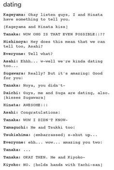 Haikyuu funny - Tanaka, forever alone.But Ennoshita ? Kagehina, Kageyama X Hinata, Daisuga, Iwaoi, Nishinoya, Kuroo, Kenma, Oikawa, Haikyuu Funny
