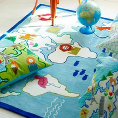 kids world map Rug Designers Guild, World Map Rug, Kids World Map, Playroom Decor, Kids Decor, Kids Area Rugs, Childrens Rugs, Burke Decor, Cool Rugs