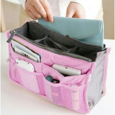 """Travel Insert Handbag Organiser Purse Large Liner SizeApprox: 11"""" x 6.7"""" x 3.7"""" (28cm x 17cm x 9.5cm ) Multiple pockets to classify your personal stuff. Portable and compact, is easily held in handbag. Find the most urgent things anytime anywhere. Perfect for holding cosmetics, cell phone, cards, etc. Bags Cosmetic Bags & Cases"""
