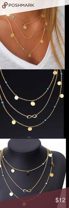 Tri-layer gold-turquoise,/coins/infinity necklace Triple layer necklace in gold with coins, turquoise and infinity symbol. Jewelry Necklaces