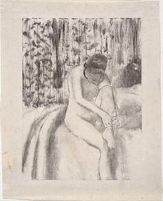 Girl Putting on Her Stockings  Edgar Degas  (French, Paris 1834–1917 Paris)  Monotype in black ink printed on china paper, mounted on cardboard