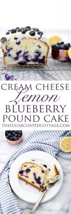 Cream Cheese Lemon Blueberry Pound Cake