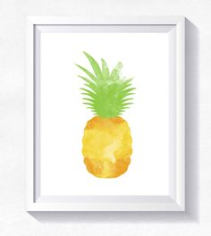 PINEAPPLE printable, tropical print, instant download, pineapple print, modern wall art, Pineapple Art, summer wall art watercolor pineapple by HappyLittleFrog on Etsy