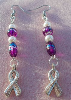 Alzheimer's Awareness Fancy Dangle Earrings - handmade I am so making these in remembrance of my grandma!