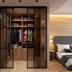 Porta de Vidro: Vantagens, Desvantagens e os Melhores Cômodos 2021 Wardrobe Room, Wardrobe Design Bedroom, Girl Bedroom Designs, Closet Bedroom, Walk In Wardrobe, Modern Tv Cabinet, Hotel Room Design, Dressing Room Design, Tv Unit Design
