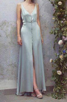 Satin Full Length Dress by Luisa Beccaria dress heels formal Sexy Maxi Dress, Sexy Dresses, Short Dresses, Dress Up, Silk Dress, Summer Formal Dresses, Full Length Dresses, Blue Satin Dress, Satin Gown