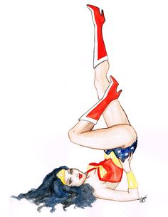Wonder Woman Pin Up Watercolour by Shaylena