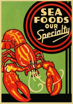 Vintage Crate Label Design for Sea Foods. Oddly enough there is no brand name unless Sea Foods Our Specialty is the company's name.