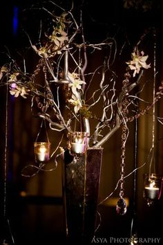 Hanging votive and orchids on manzanita tree at escort card table, Downtown Marriott Hotel Wedding, Asya Photography