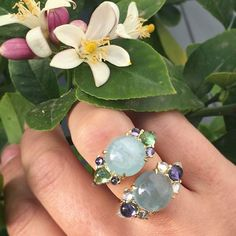 Two newbies and a lemon tree  #rings #aquamarine #gold #jewelry #style…