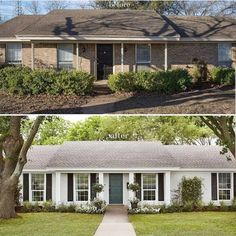 The power of subtle architectural updates (and paint) make a big difference in this classic #beforeandafter from @joannagaines 🤗 . . . #transformationtuesday #renovation #house #instagood #curbappeal #exterior #homesweethome #architecture