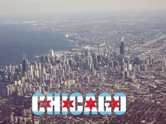 Chicago From The Air Photo with Chicago Text and Flag FREE US SHIPPING CIty Skyline Architecture Downtown Illinois