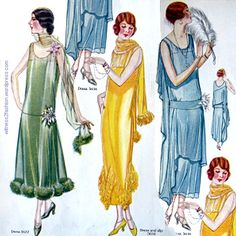 Sheer dresses reveal the coordinating slip under them. Delineator, November 1924.