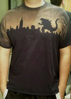 Custom designed and made Godzilla t-shirt. Godzilla attacks the New York City skyline, including the Empire State Building. I design and