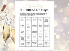 Bridal Shower Ice Breaker Game Champagne Wedding Human Bingo Cards Printable Get. Bingo Cards, Printable Cards, Ice Breaker Bingo, Human Bingo, Wedding Party Games, Game Development Company, Cooperative Learning, Ice Breakers, Card Envelopes