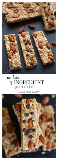 5 Ingredient Granola Bars with almond butter are sweet, chewy super easy to make in only one pot and NO refined sugar. Healthy Bars, Healthy Sweets, Vegan Sweets, Healthy Food, Lunch Snacks, Easy Snacks, Baking Recipes, Snack Recipes, Healthy Recipes