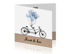 Bijzonder mooie trouwkaart met tadem fiets #trouwkaarten #trouwen #trouwkaarten
