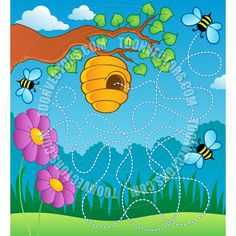 Bee Hive Clip Art | Cartoon Bee Hive Landscape Scene by clairev | Toon Vectors EPS #37955