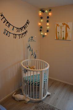 ec7fd29ac2d #nursery #stokke crib - Lights from #studiozomooi Homemade artwork, #mobile.