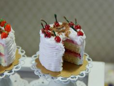 Yellow Cake with Cherry Filling & Two Slices on by JansPetitPantry