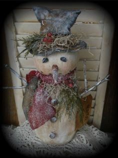 Primitive Olde Winter Daze Snowman With Crow Doll #NaivePrimitive