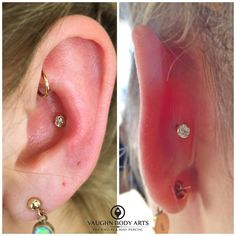 """vaughnbodyarts: """"We hope you all enjoyed your weekend as much as we did. Back to work, and we got to help our client Memry choose exactly what she wanted for a new conch piercing. She took her time. Conch Piercings, Inner Conch Piercing, Cute Ear Piercings, Body Piercings, Peircings, Piercing Tattoo, Rook Piercing, Conch Stud, Tragus"""