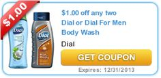 $1.00 off any two Dial or Dial For Men Body Wash