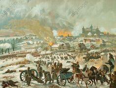 Battle near Montbeliard, 15 dec. 1870. Contemporary colour lithograph, c. 1870