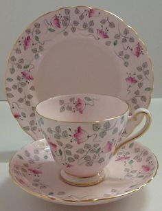 Tuscan Baby Pink Vintage English China Tea Set Trio