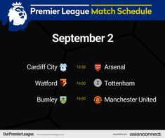 Match Schedule, Cardiff City, Premier League Matches, Burnley, Watford, Manchester United, The Unit, Day, Man United
