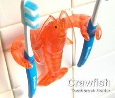 Crayfish toothbrush holder, love it haha, except im pretty sure thats a lobster... #joescrabshack