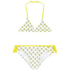 Super fun white bikini with bright yellow all over star patter by Zadig & Voltaire. The bathing suit has a symmetrical triangle top with an adjustable neck and a clip faster on the back. The matching bottoms have high-cut legs, fancy fringes on each side; both pieces are made from a quick drying material and are fully lined.  All over star pattern Triangle top with adjustable neck Clip fastener on back of top 80% polymide, 20% Elastane Lining: 85% Polyamide, 20% Elastane  Machine wash