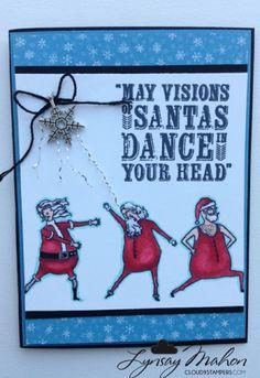 Visions of Santa from the Stampin' Up! Creepy or Cute? Christmas Dance, Christmas Themes, Christmas Crafts, Xmas Cards, Holiday Cards, Santa Stamp, Dancing Santa, Holiday 2014, Santa Clause
