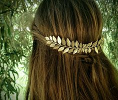 Large Laurel Leaf Hair Comb Gold Leaf Hair Comb Bridal Hair
