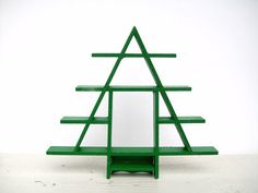 vintage green christmas tree wood display shelf