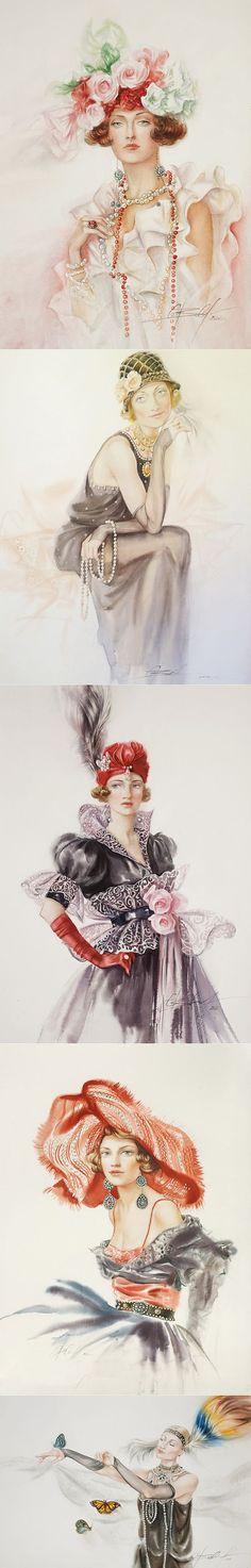 Женщины стиля модерн... Светлана Овинова.   Картинки для декупажа   Постила