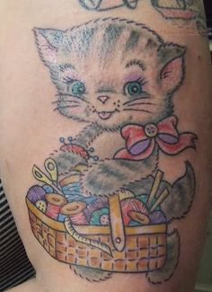 Kitty with Spools Craft Tattoo