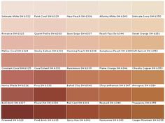 Sherwin Williams Paint Colors Options - House Paint Color Chart - Samples, Swatches, Charts for Exterior and Interior Wall and ceiling Copper Paint Colors, Red Paint Colors, Paint Color Chart, Exterior Paint Colors, Paint Colors For Home, Room Colors, Wall Colors, House Colors, Persimmon Color