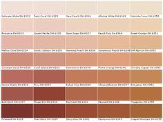 Sherwim Williams Paint Colors SW6322 Intimate White SW6323 Romance SW6324 Mellow Coral SW6325 Constant Coral SW6326 Henna Shade SW6327 Bold Brick SW6328 Fireweed SW6329 Faint Coral SW6330 Quaint Peche SW6331 Smoky Salmon SW6332 Coral Island SW6333 Foxy SW6334 Flower Pot SW6335 Fired Brick SW6336 Nearly Peach SW6337 Spun Sugar SW6338 Warming Peach SW6339 Persimmon