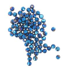 Hobbycraft Crystal Round Faceted Beads Solid Blue