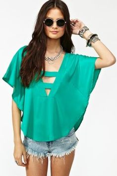Plunging Batwing Top - Jade in  What\'s New at Nasty Gal