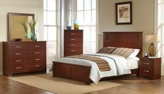 Kith Furniture Moro Bedroom Set - Contemporary styling, Replicated cherry grain in a traditional dark red Finish, Brushed chrome hardware, Picture frame molding accents on the Headboard and mirror