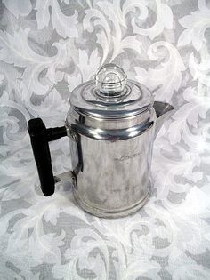 Sold VINTAGE ALUMINUM 4 CUP STOVE TOP/CAMPING COFFEE POT