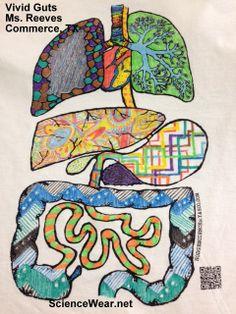 Creative Paint job on anatomy shirt by K. Reeves, Commerce, TX ScienceWear.net