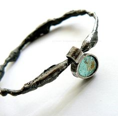10 % OFF ! use coupon code SPACE    -organic raw  bracelet sterling silver roman glass blue
