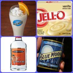 Blue Moon Pudding Shots  1 small Pkg. vanilla instant pudding 3/4 Cup Milk 1/2 Cup Blue Moon Beer 1/4 Cup Triple Sec 8oz tub Cool Whip Directions 1. Whisk together the milk, liquor, and instant pudding mix in a bowl until combined. 2. Add cool whip a little at a time with whisk. 3 Spoon the pudding mixture into shot glasses, disposable shot cups or 1 or 2 ounce cups with lids. Place in freezer for at least 2 hours