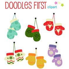 Christmas Mittens Digital Clip Art for Scrapbooking Card Making Cupcake Toppers Paper Crafts (2.99 USD) by DoodlesFirst