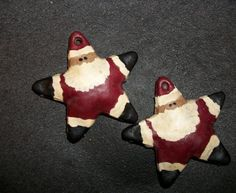 I made these santa stars out of my salt dough recipe, painted and dipped them in wax. Hole at top for hanging.