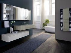 Mueble bajo lavabo simple suspendido con espejo COMP N05 Colección Nyù by IdeaGroup